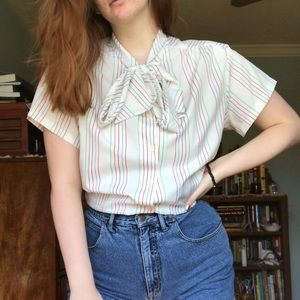 Vintage Striped Work/Summer Blouse Plus